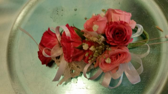 Spray rose corsage with lace accents