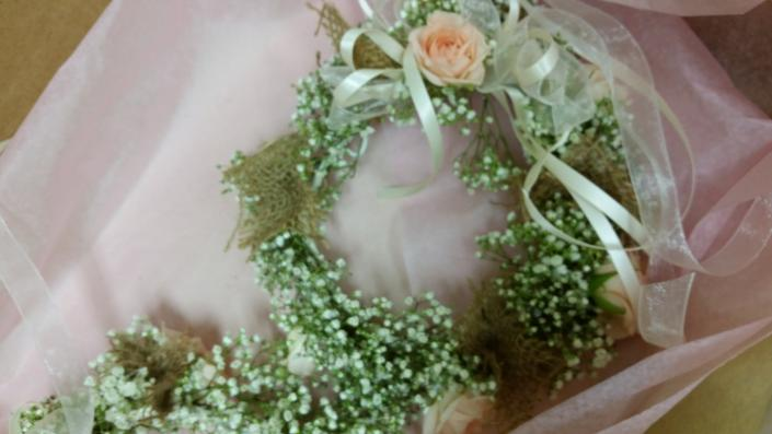 Flower girl halo in baby's breath and burlap