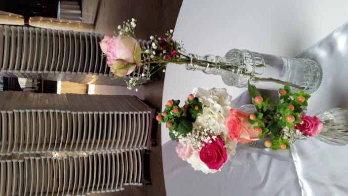 Simple 3 Vase Cluster Centerpiece Reception Flowers