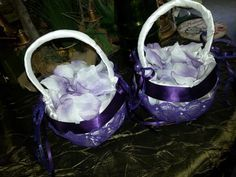 white with purple lace flower girl baskets