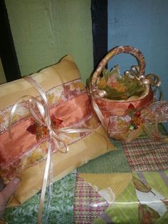 fall ring bearer pillow and basket of fall leaves