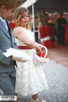 flower girl with red