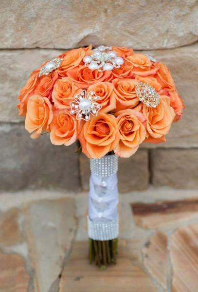 Roses and rhinestones in orange